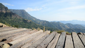 Sunny day with landscape and terrace. Sunny day with mountain and terrace stock photos