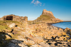 Sunny day at Lindisfarne Castle Royalty Free Stock Images