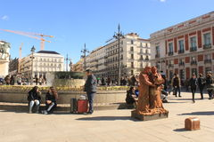 Sunny day in Madrid, capital of Spain. Buskers on Plaza del Sol royalty free stock photos