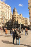 Sunny day in Madrid, capital of Spain. Tourist couple in the street Stock Image