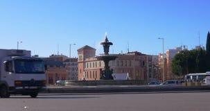 Sunny day madrid main train station fountain traffic view 4k spain. Spain sunny day madrid main train station fountain traffic view 4k stock video