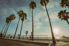 Sunny day in Manhattan beach, California with pier in the backgr. Ound. United States royalty free stock image