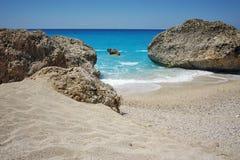Sunny Day at Megali Petra beach, Lefkada, Greece Stock Photos