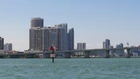 Sunny day miami downtown tourist boat ride 4k florida usa stock video