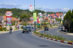 A sunny day on a modern city street, Dalat Stock Photography