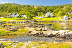 Sunny day on the Norwegian fjord coast Royalty Free Stock Photography