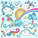 Sunny Day Notebook Doodles Vector Illustration. Psychedelic Sunny Day with Clouds and Sun Notebook Doodle Design Elements Set on Blue Lined Sketchbook Paper stock illustration