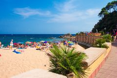 Free Sunny Day On Sea Resort Beach In Lloret De Mar, Spain Stock Images - 137568224