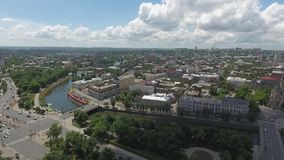 Sunny day over the city with the river stock footage