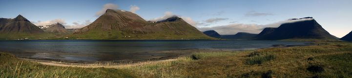 Sunny day over Sugandafjordur in Wesfjords, Iceland royalty free stock photo