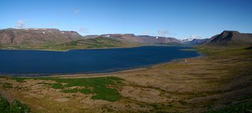 Sunny day over Sugandafjordur in Wesfjords, Iceland royalty free stock photos