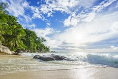 Sunny day on paradise beach anse georgette,praslin seychelles 47 Royalty Free Stock Images