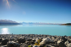 Sunny day at paradise places in South New Zealand / Lake Tekapo / Church of the Good Shepherd. Lake Tekapo is a lakeside resort village in the Mackenzie Country Stock Image