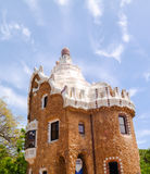 Sunny day in Parc Guell in Barcelona, Spain. Traveling in Catalunya, Barcelona, Spain Royalty Free Stock Photos