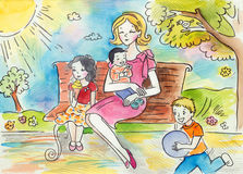 Sunny Day in the Park. Illustration of a happy mommy having a good time in the park with her children. Created with ink and watercolor Royalty Free Stock Image