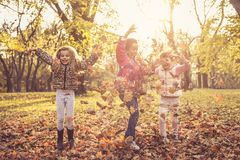 Sunny day in park. Kids in nature. royalty free stock photos