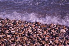 On a sunny day pebbles washed by small waves on the beach of the Black Sea Stock Images