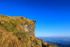 Sunny day at Phu Chi Fa. A mountain area and national forest park in Thailand,a part of Doi Pha Mon,located at the northeastern end of Phi Pan Nam Range,Thoeng Royalty Free Stock Images