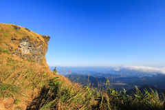 Sunny day at Phu Chi Fa. A mountain area and national forest park in Thailand,a part of Doi Pha Mon,located at the northeastern end of Phi Pan Nam Range,Thoeng Royalty Free Stock Image