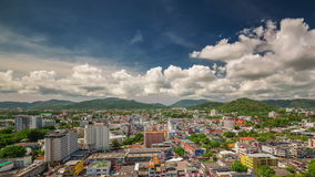 Sunny day phuket island patong city roof top panorama 4k time lapse thailand stock video