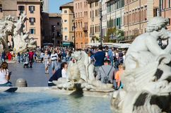 Sunny day in piazza Navona in Rome Stock Images