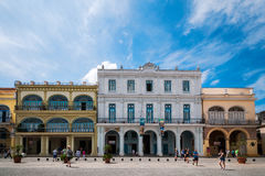 Sunny day in Plaza Vieja in Havana royalty free stock photography