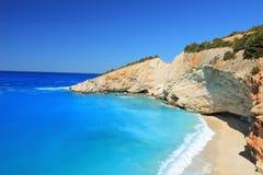 Sunny day at Porto Katsiki beach on Lefkada Stock Image
