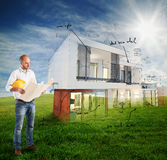 Sunny day project house Stock Photography