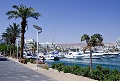 Sunny day on promenade of Eilat city, Israel Stock Photo