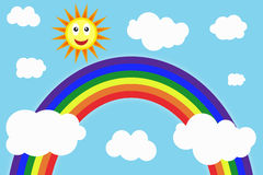 Sunny day with rainbow. Colorful background Stock Image