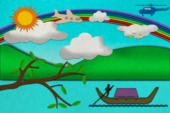 Sunny day from recycled paper craft Royalty Free Stock Photography