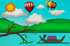 Sunny day from recycled paper craft Royalty Free Stock Image