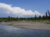 Sunny Day at the river before the storm. Landscape of the River before a storm blows in Royalty Free Stock Image