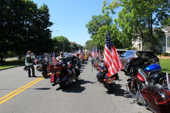 Sunny day with road full of motorcyclists ready to take part in parade, Saratoga, New York, 2016 Royalty Free Stock Images