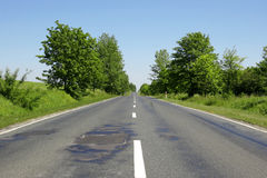 Sunny day road. Green trees and fields Royalty Free Stock Images