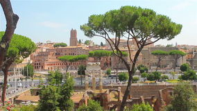 Sunny day in Rome, view of the Roman Forum stock footage