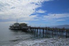 Sunny day at Santa Monica Pier. Sunny and cloudy day at Santa Monica Pier Stock Images
