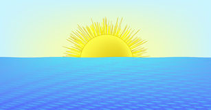 Sunny day at the sea (AI format available). Illustration: sunset / sunrise (AI format available royalty free illustration