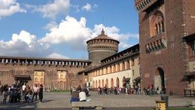 A sunny day in the Sforza castle. Milan, Italy. MILAN, ITALY - SEPTEMBER 17, 2017: A sunny day in the Sforza castle stock video