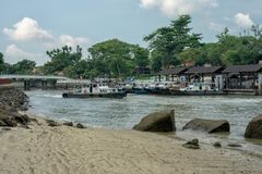 Singapore - June 3, 2018: Tour boats to Palua Ubin from Changi H stock photo