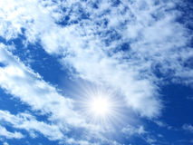 Sunny day sky. A blue sky with clouds in a sunny day stock image