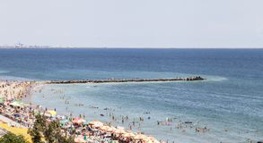 Sunny day in South Eforie on shore of Black Sea Stock Image