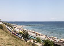 Sunny day in South Eforie on shore of Black Sea Stock Photography