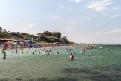 Sunny day in South Eforie on shore of Black Sea Royalty Free Stock Photography