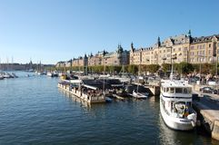 A sunny day in Stockholm, Sweden. Stockholm, the capital of Sweden, encompasses 14 islands and more than 50 bridges on an extensive Baltic Sea archipelago. The Stock Photo