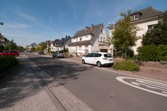 Sunny day on the streets of Howald town, Luxembourg. Beautiful houses and a sunny day on the streets of Howald town, Luxembourg Stock Photography