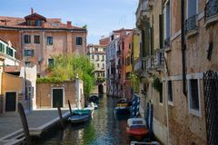 A sunny day in the streets of Venice. Italy Royalty Free Stock Images