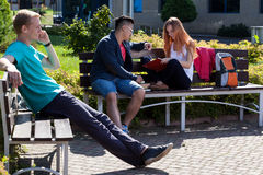 Sunny day on a student camp Royalty Free Stock Images