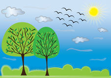 Sunny day. Sunny summer day with green trees Stock Photos