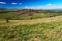 Sunny day on the Sunduki mountain range, Khakassia republic. Royalty Free Stock Photo